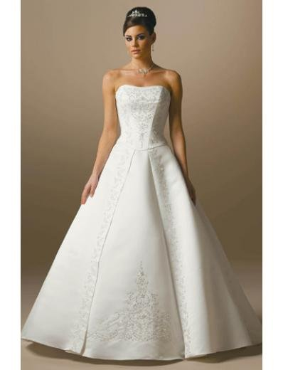 A-Line/Princess Strapless Chapel Train Satin wedding dress for brides gowns new Style(WDA1662)
