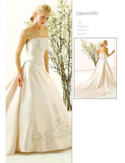 A-Line/Princess Strapless Cathedral Train Stain wedding dress for brides gowns new style(WDA1582)