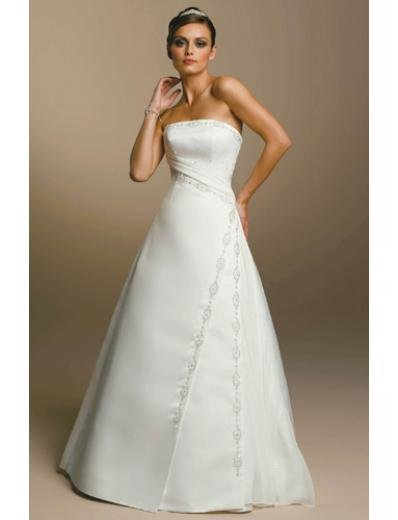 A-Line/Princess Strapless Chapel Train Organza wedding dress for brides gowns new Style(WDA1661)