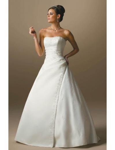 A-Line/Princess Strapless Chapel Train Satin wedding dress for brides gowns new Style(WDA1660)