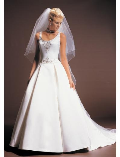 A-Line/Princess Scoop Chapel Train Stain wedding dress for brides gowns new style(WDA1580)