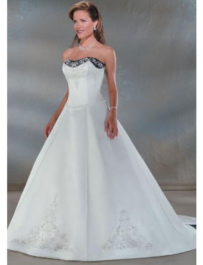 A-Line/Princess Strapless Cathedral Train Satin wedding dress for brides gowns new style(WDA0037)