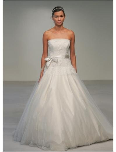 A-Line/Princess Strapless Chapel train Organza wedding dress for brides gowns new style(BST0539)