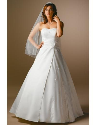 A-Line/Princess Strapless Chapel Train Satin wedding dress for brides gowns new Style(WDA1664)