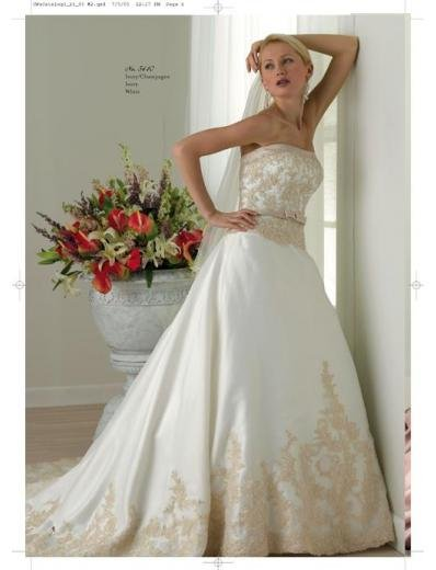 A-Line/Princess Strapless Chapel Train Stain wedding dress for brides gowns new style(WDA1590)