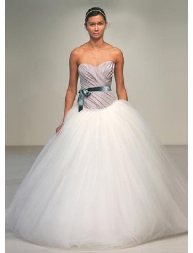 A-Line/Princess Sweetheart Chapel train tulle wedding dress for brides gowns new style(WDA0545)