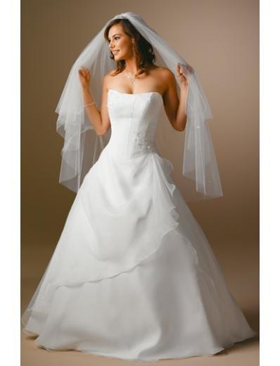 A-Line/Princess Strapless Chapel Train Chiffon wedding dress for brides gowns new style(WDA1666)