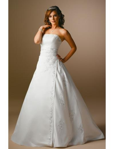 A-Line/Princess Strapless Chapel Train Satin wedding dress for brides gowns new Style(WDA1665)