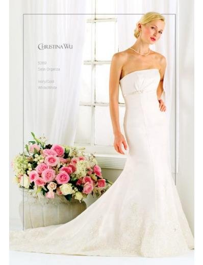 A-Line/Princess Strapless Chapel Train Stain wedding dress for brides gowns new style(WDA1586)