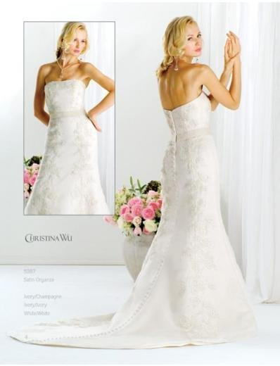 A-Line/Princess Strapless Chapel Train Stain wedding dress for brides gowns new style(WDA1585)