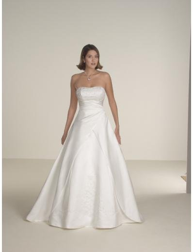 A-Line/Princess Strapless Chapel Train Satin wedding dress for brides gowns new style(WDA0342)