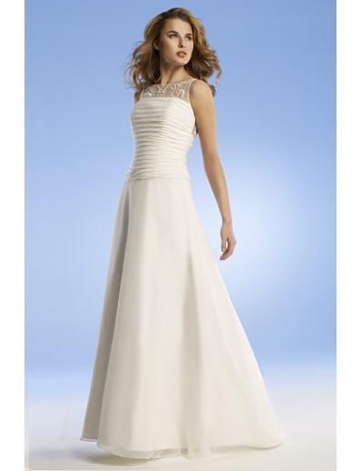 A-Line/Princess Bateau Chapel train Chiffon wedding dress for brides gowns new Style(WED0057)