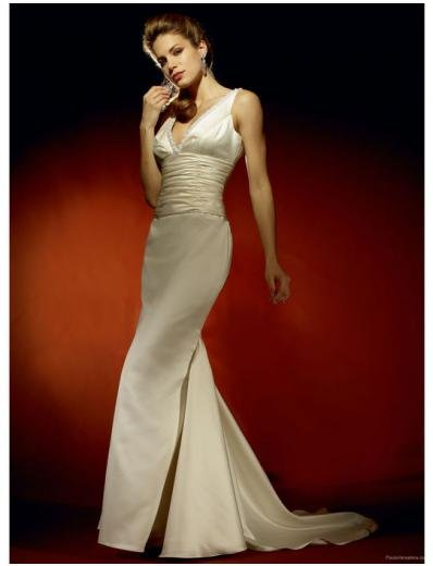 A-Line/Princess V-Neck Chapel Train Satin wedding dress for brides gowns new style(WDA0636)