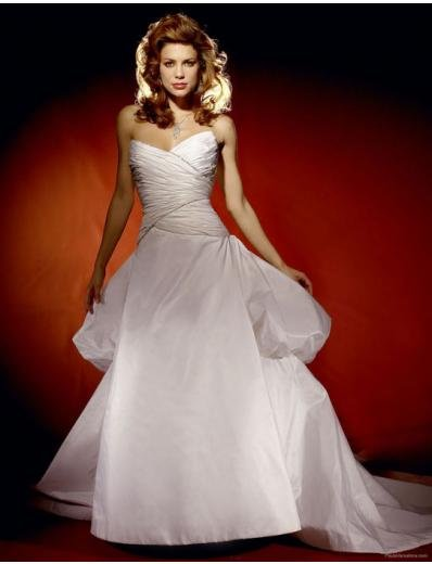 A-Line/Princess Strapless Chapel Train Satin wedding dress for brides gowns new style(2009cw0629)