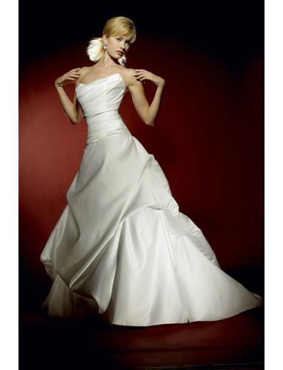 A-Line/Princess Strapless Brush Train Satin wedding dress for brides gowns new style(WDA0619)
