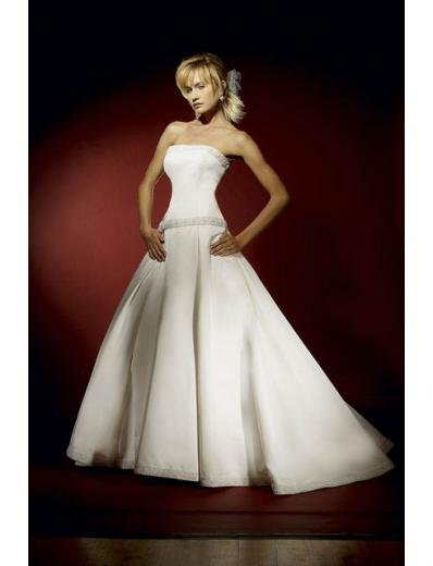 A-Line/Princess Strapless Chapel Train Satin wedding dress for brides gowns new style(WDA0609)