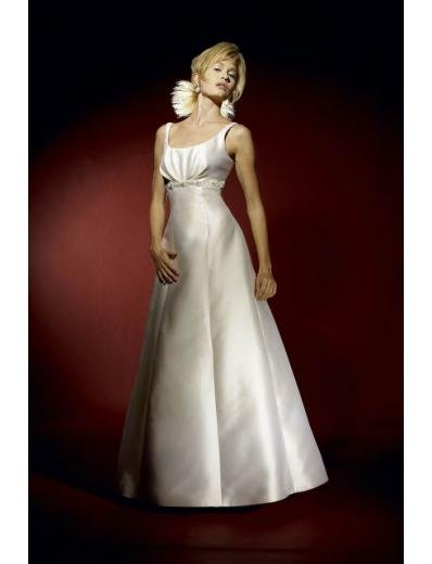 A-Line/Princess Scoop Floor-Length Satin wedding dress for brides gowns new style(WDA0608)