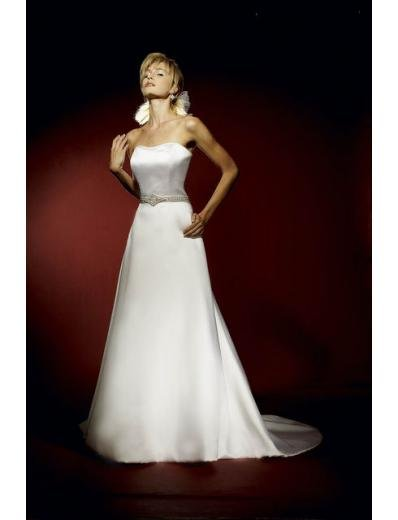 A-Line/Princess Strapless Chapel Train Satin wedding dress for brides gowns new style(WDA0604)