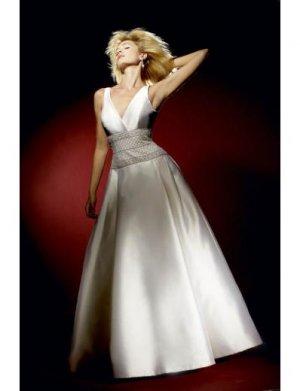 A-Line/Princess V-Neck Floor-Length Satin wedding dress for brides gowns new style(WDA0599)