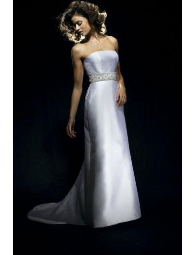 A-Line/Princess Strapless Chapel Train Satin wedding dress for brides gowns new style(WDA0653)