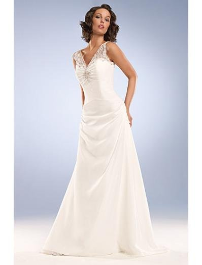 A-Line/Princess V-neck Sweeping Train Satin wedding dress for brides gowns new Style(WD0037)