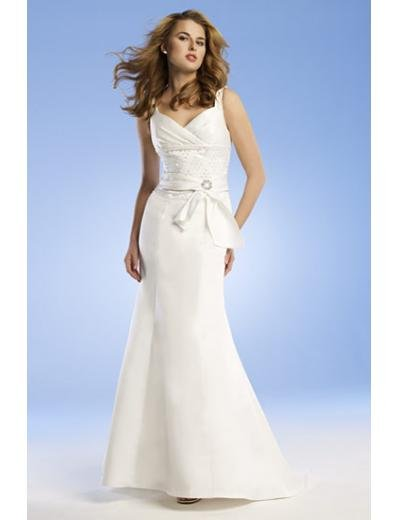 A-Line/Princess V-neck Sweep train Satin wedding dress for brides gowns new Style(WED0052)