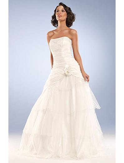 A-Line/Princess Strapless Sweep Train organza wedding dress for brides gowns new Style(WD0035)