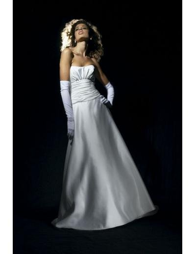 A-Line/Princess Strapless Chapel Train Satin wedding dress for brides gowns new style(WDA0659)