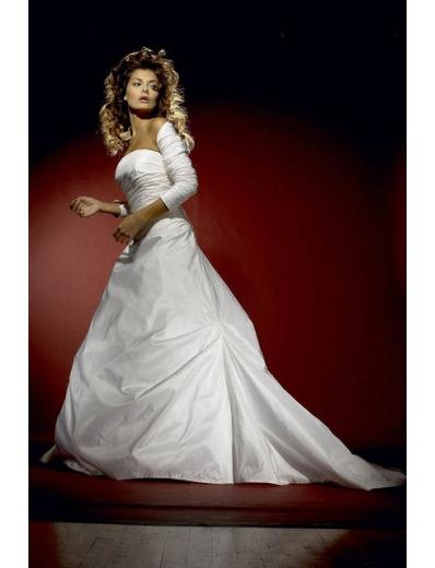 A-Line/Princess Strapless Chapel Train Satin wedding dress for brides gowns new style(WDA0597)