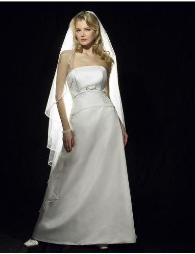 A-Line/Princess Strapless Floor-length Satin wedding dress for brides gowns new style(WDA0593)