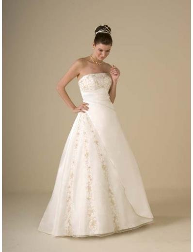A-Line/Princess Strapless Chapel Train Tulle Satin wedding dress for brides gowns new style(WDA0355)