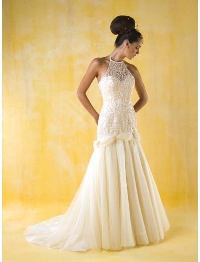 A-Line/Princess halter top Chapel Train Chiffon wedding dress for brides gowns new style(WDA0397)