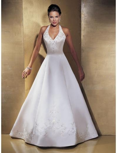 A-line/Princess halter Top Chapel Train Satin wedding dress for brides gowns new style(WDA1513)