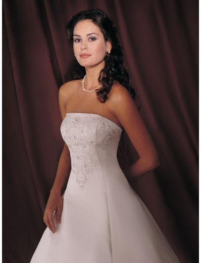 A-line/Princess Strapless Chapel Train Satin wedding dress for brides gowns new style(WDA1512)