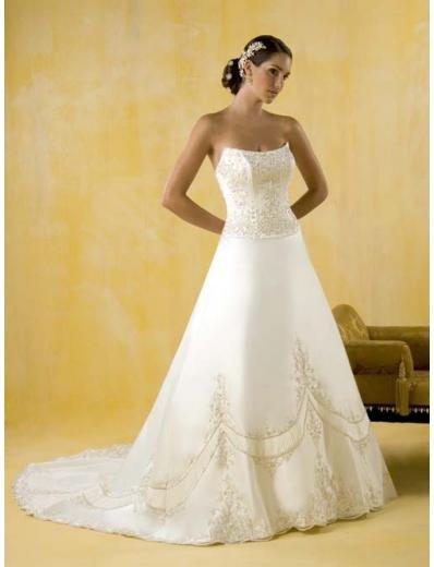 A-Line/Princess Strapless Chapel Train Chiffon wedding dress for brides gowns new style(WDA0394)