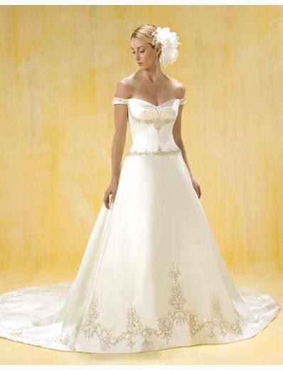 A-Line/Princess Off-the-shoulder Chapel Train Satin wedding dress for brides gowns new(WDA0388)