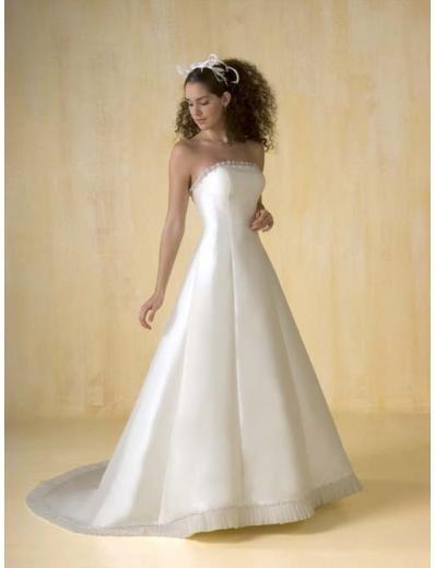 A-Line/Princess Strapless Chapel Train Satin wedding dress for brides new style(WDA0384)