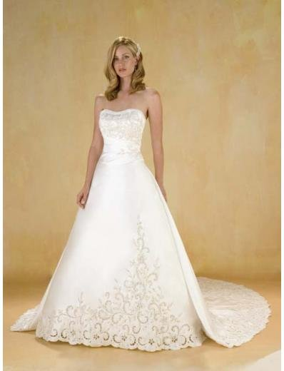 A-Line/Princess Strapless Cathedral Train Satin wedding dress for brides new style(WDA0383)