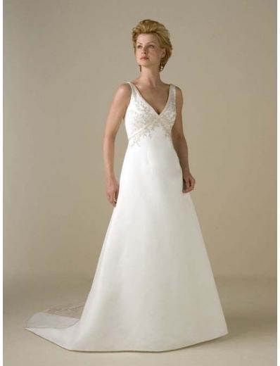 A-Line/Princess V-neck Chapel Train Satin wedding dress for brides gowns new style(WDA0352)