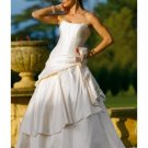 A-line/Princess Strapless Chapel Train Satin wedding dress for brides gowns new style(WDA1539)