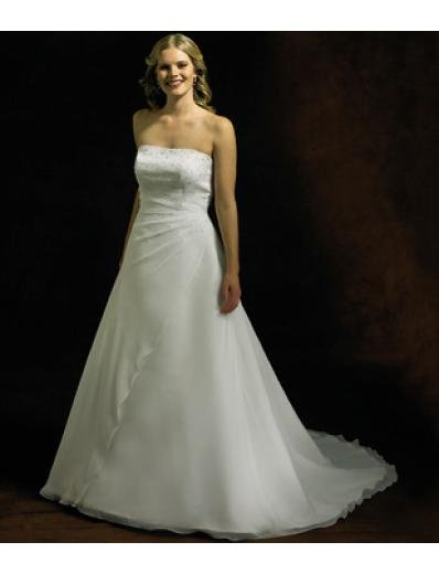 A-Line/Princess Strapless Chapel Train Organza wedding dress for brides gowns new style(WDA0274)