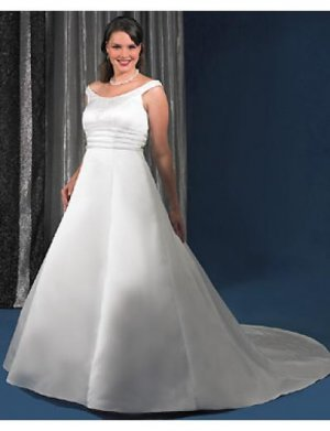 A-Line/Princess Scoop Chapel Train Stain wedding dress for brides gowns new style(WDA0269)