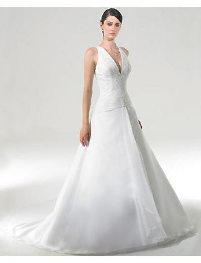 A-Line/Princess Halter Top Chapel Train Satin wedding dress for brides gowns new style(WDA0246)