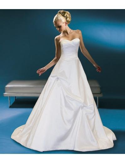 A-Line/Princess Strapless Chapel Train Satin wedding dress for brides gowns new style(WDA0235)
