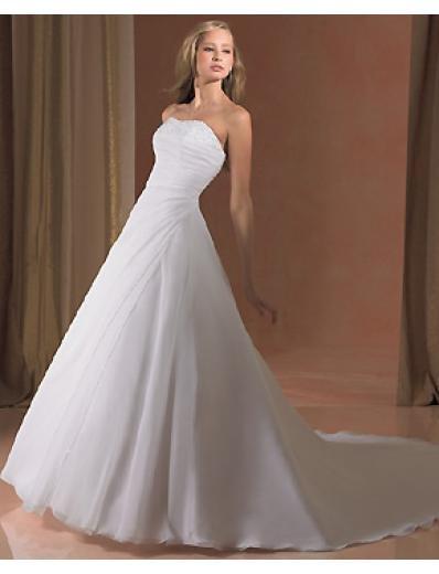 A-Line/Princess Strapless Chapel Train Chiffon wedding dress for brides gowns new style(WDA0215)