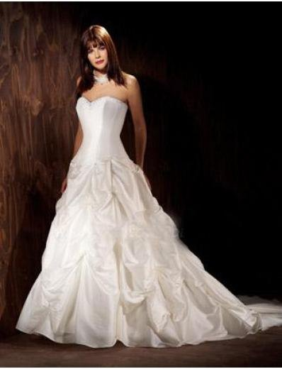 A-Line/Princess Sweetheart Chapel Train Satin wedding dress for brides gowns new style(WDA1109)