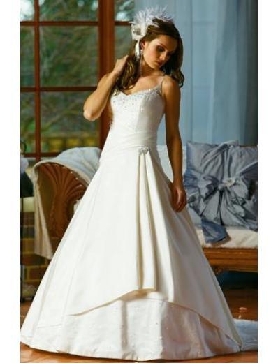 A-line/Princess Spagetti Straps Chapel Train Satin wedding dress for brides gowns new style(WDA1531)