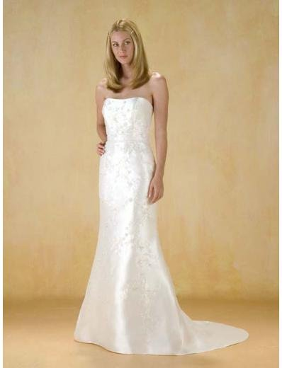 A-Line/Princess Strapless Chapel Train Satin wedding dress for brides gowns new style(WDA0380)
