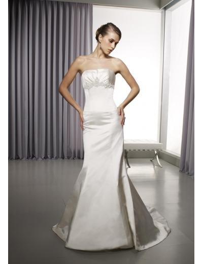 A-Line/Princess Strapless Chapel Train Satin wedding dress for brides gowns new Style(WD0289)