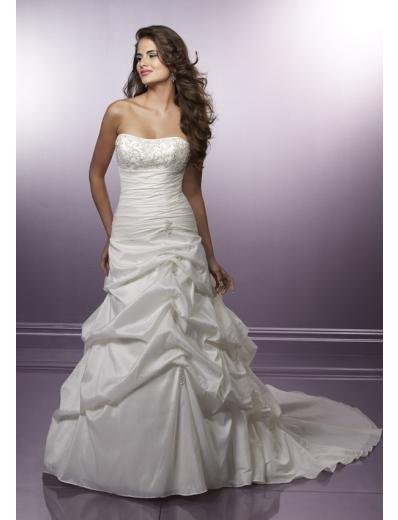 A-Line/Princess Strapless Chapel Train Taffeta wedding dress for brides gowns new Style(WD0281)